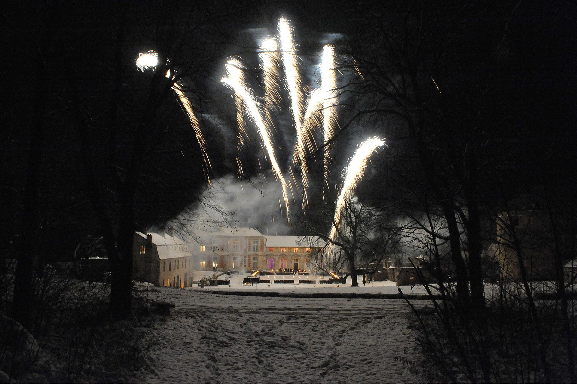 dans le parc du château, les artifices en hiver pendant un mariage