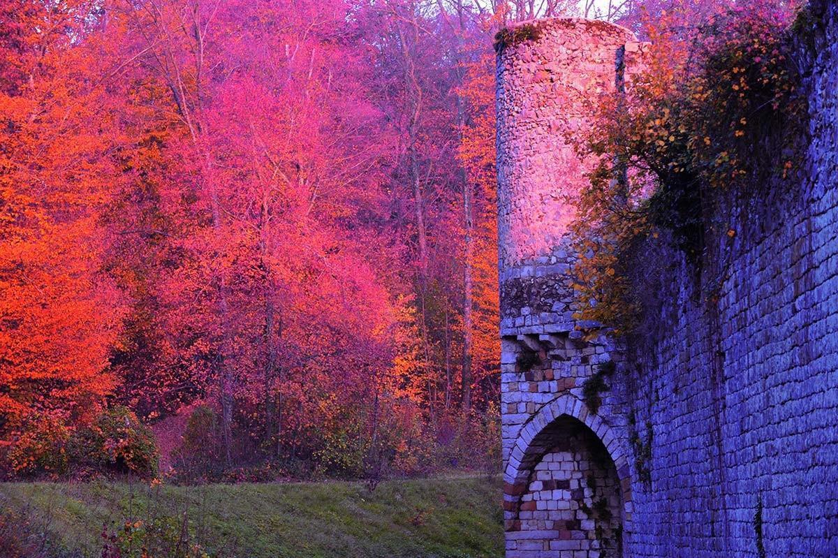 les remparts médiévaux de l'enceinte du Château de Vallery